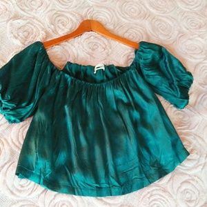 Urban Outfitters Green Satin Off Shoulder Crop Top